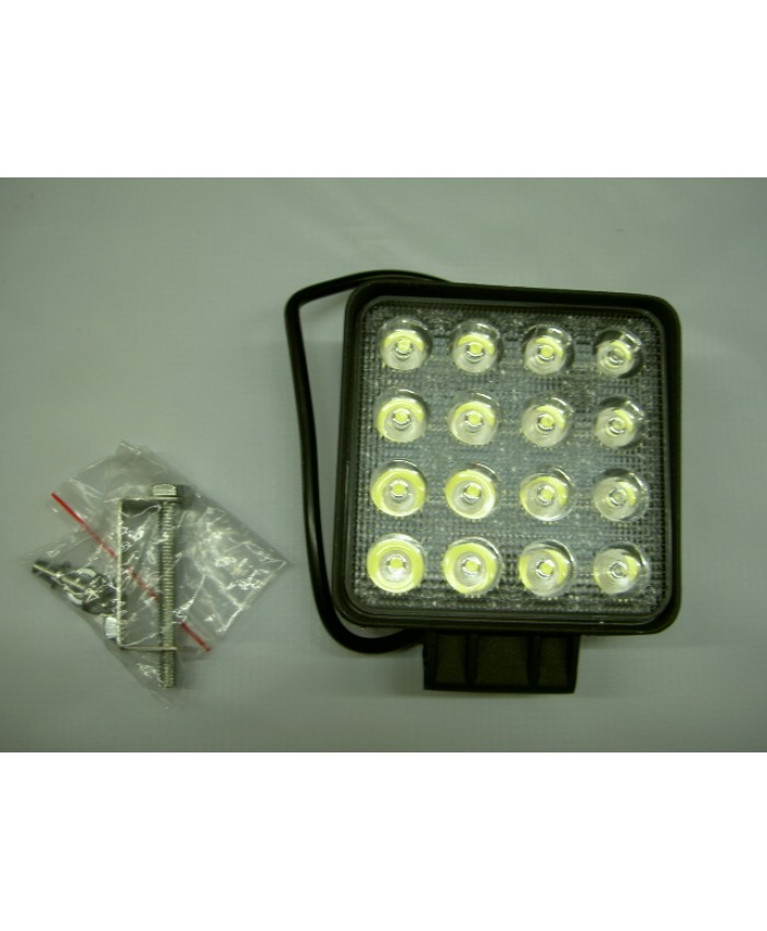 ФАР КВАДРАТЕН 16 LED 9-32V, 16x3W, 110x110мм.